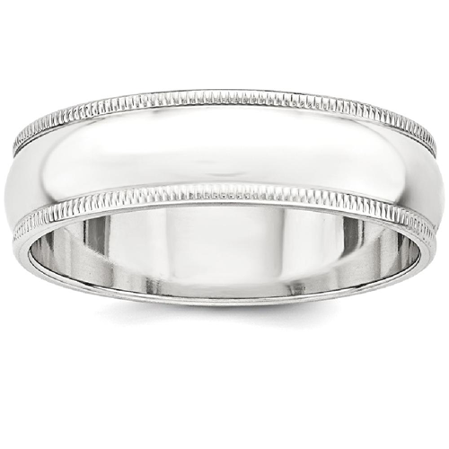 IceCarats 925 Sterling Silver 6mm Half Round Milgrain Wedding Ring Band Size 12.00 Classic