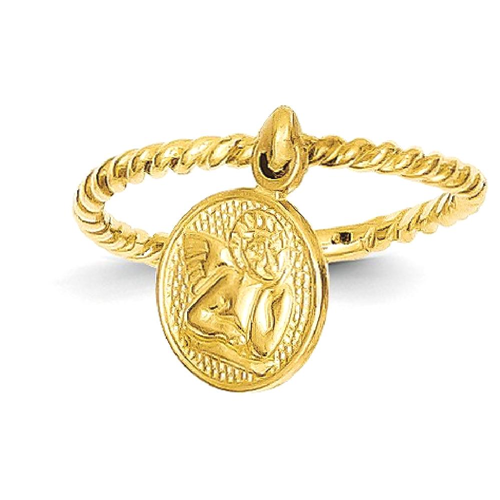 IceCarats 14k Yellow Gold Angel Dangle Charm Childs Band Ring Size 4.00 Baby