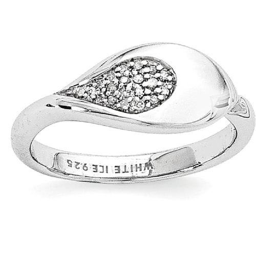 IceCarats 925 Sterling Silver .07ct. Diamond Band Ring Size 8.00