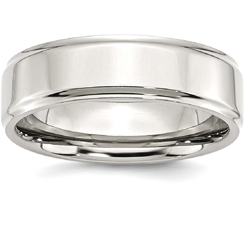 IceCarats Stainless Steel Ridged Edge 7mm Wedding Ring Band Size 10.00 Classic Flat Wedge