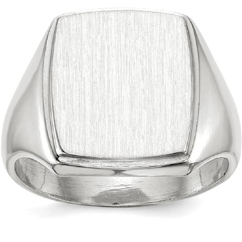 IceCarats 14k White Gold Signet Band Ring Size 10.00 Men