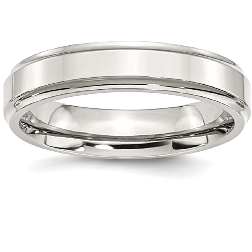 IceCarats Stainless Steel Ridged Edge 5mm Wedding Ring Band Size 7.50 Classic Flat Wedge