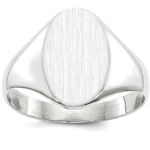 IceCarats 14k White Gold Signet Band Ring Size 7.00