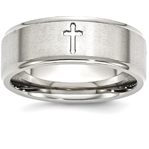IceCarats Stainless Steel Ridged Edge Cross Religious 8mm Brushed Wedding Ring Band Size 13.50 Designed