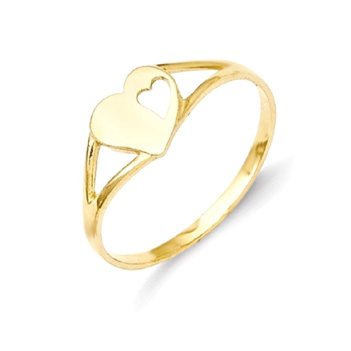 IceCarats 14k Yellow Gold Heart Baby Band Ring Size 2.00