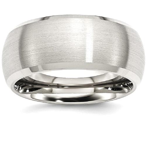 IceCarats Stainless Steel Beveled Edge 10mm Brushed Wedding Ring Band Size 8.00 Classic Flat Wedge