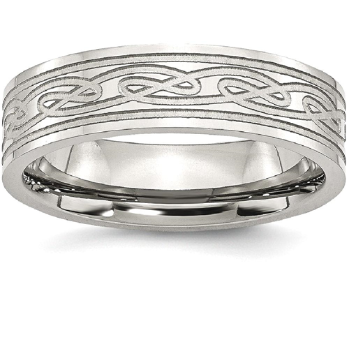 IceCarats Stainless Steel Flat Laser Etched Irish Claddagh Celtic Knot 6mm Wedding Ring Band Size 9.00 Designed