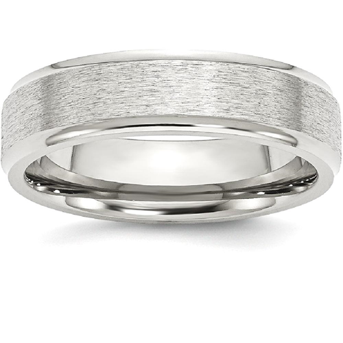 IceCarats Stainless Steel Ridged Edge 6mm Wedding Ring Band Size 13.00 Classic Flat Wedge