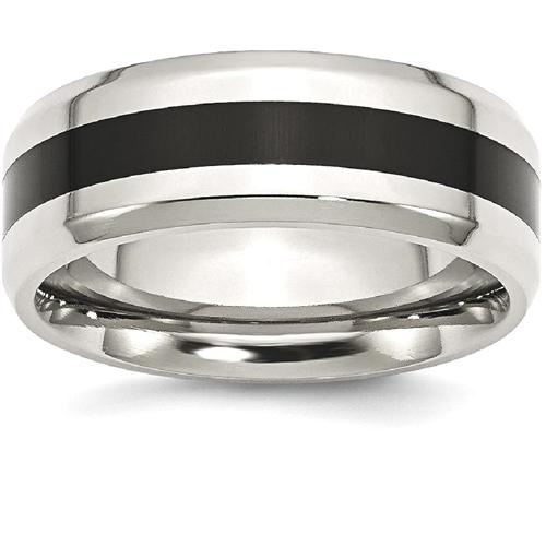 IceCarats Stainless Steel Black Enamel 8mm Beveled Edge Wedding Ring Band Size 14.00 Fancy
