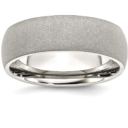 IceCarats Stainless Steel Stone Finish 7mm Wedding Ring Band Size 7.00 Classic Domed