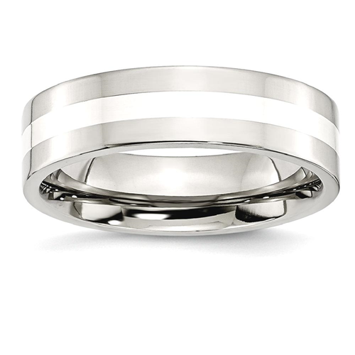 IceCarats Stainless Steel 925 Sterling Silver Inlay Flat 6mm Wedding Ring Band Size 8.00 Preciou Metal
