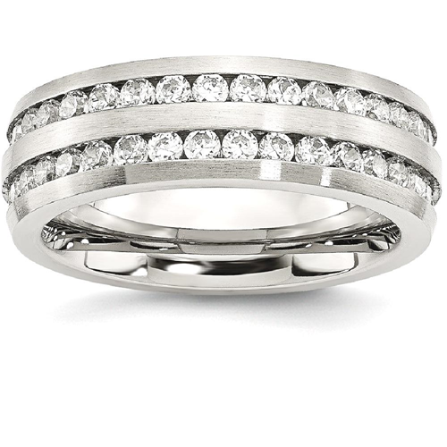 IceCarats Stainless Steel 7mm Double Row Cubic Zirconia Cz Band Ring Size 7.00