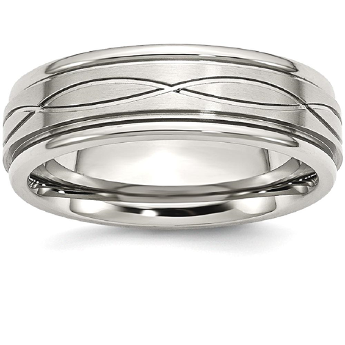 IceCarats Stainless Steel /brushed Criss Cross Religious Design 7mm Ridged Edge Wedding Ring Band Size 7.00 Fancy