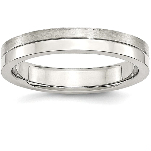 IceCarats Stainless Steel 4mm Brushed Wedding Ring Band Size 7.50 Fancy