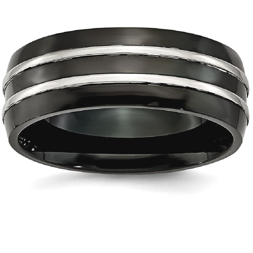 IceCarats Stainless Steel 8mm Black Plated Brushed Wedding Ring Band Size 10.50 Fancy