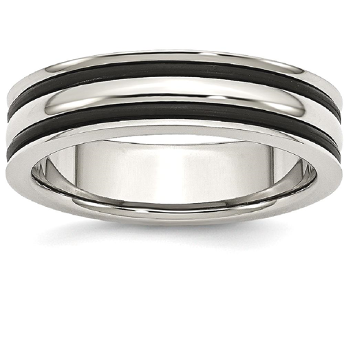 Rubber Wedding Band | Icecarats Stainless Steel 6mm Grooved Black Rubber Wedding Ring Band