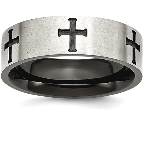 IceCarats Stainless Steel 7mm Black Plated Crosses Brushed/ Wedding Ring Band Size 11.50 Designed Religious