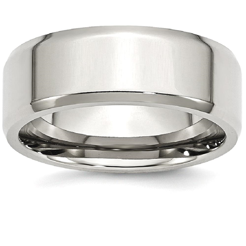 IceCarats Stainless Steel Beveled Edge 8mm Wedding Ring Band Size 7.50 Classic Flat Wedge