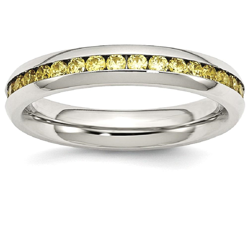 IceCarats Stainless Steel 4mm November Yellow Cubic Zirconia Cz Band Ring Size 9.00 Birthstone