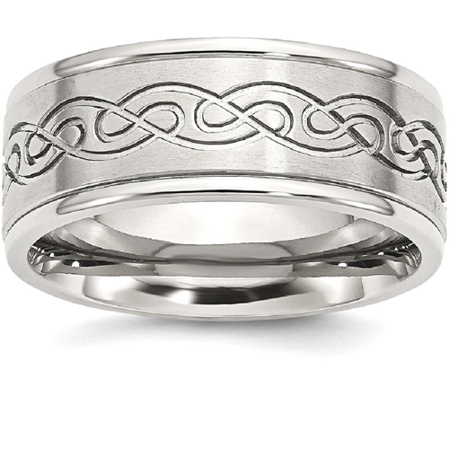 IceCarats Stainless Steel Scroll Design 9mm Brushed/ Ridged Edge Wedding Ring Band Size 10.00 Fancy