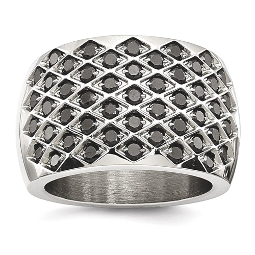 IceCarats Stainless Steel Black Czs Band Ring Size 7.00 Cz