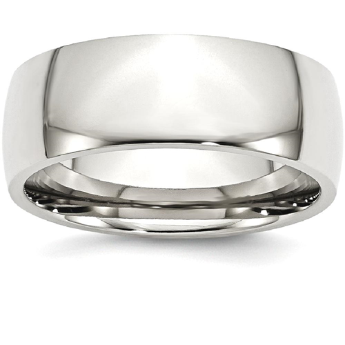 IceCarats Stainless Steel 8mm Wedding Ring Band Size 6.50 Classic Domed