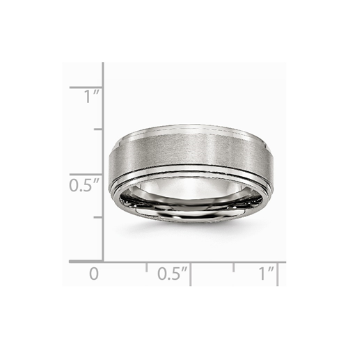 Titanium Ridged Edge 8mm Brushed Wedding Ring Band Size 7.50 Classic Flat Bridal & Wedding Party Jewelry Engagement & Wedding