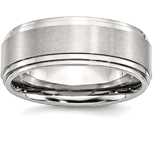 IceCarats Stainless Steel Ridged Edge 8mm Brushed Wedding Ring Band Size 9.50 Classic Flat Wedge