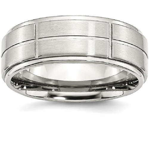 IceCarats Stainless Steel Grooved 8mm Brushed/ Ridged Edge Wedding Ring Band Size 11.00