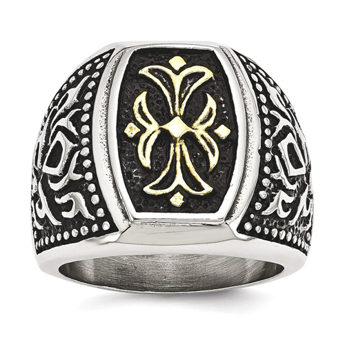 IceCarats Stainless Steel Yellow Plated Cross Religious Band Ring Size 9.00