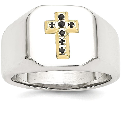 IceCarats Stainless Steel 14k Sapphire Cross Religious Band Ring Size 9.00