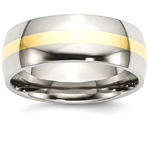 IceCarats Stainless Steel 14k Yellow Inlay 8mm Wedding Ring Band Size 6.00 Preciou Metal