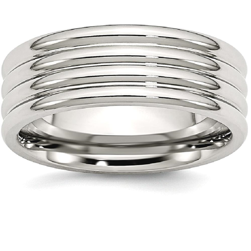 IceCarats Stainless Steel Grooved 8mm Wedding Ring Band Size 12.50