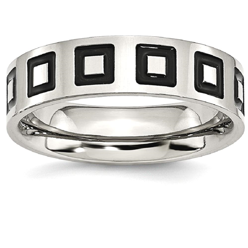 IceCarats Stainless Steel Enameled Flat 6mm Wedding Ring Band Size 9.50 Fancy