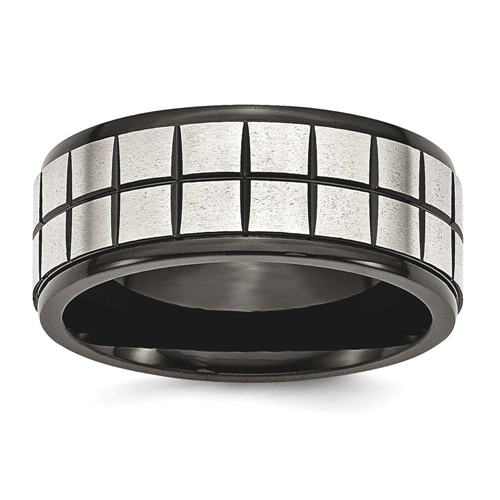 IceCarats Stainless Steel Brushed Black Plated 9mm Wedding Ring Band Size 11.50 Fancy