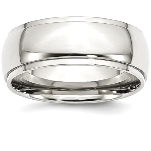 IceCarats Stainless Steel Ridged Edge 8mm Wedding Ring Band Size 8.00 Classic Domed Wedge
