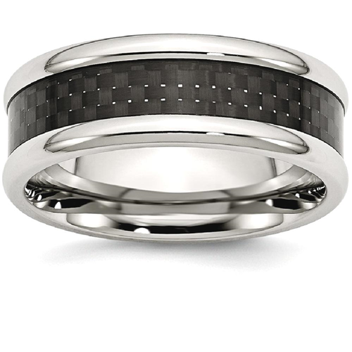 IceCarats Stainless Steel Black Carbon Fiber Inlay 8mm Wedding Ring Band Size 8.50 Type Of