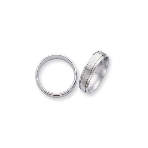 Bridal & Wedding Party Jewelry Titanium Ridged Edge 6mm Brushed Wedding Ring Band Size 14.50 Classic Flat