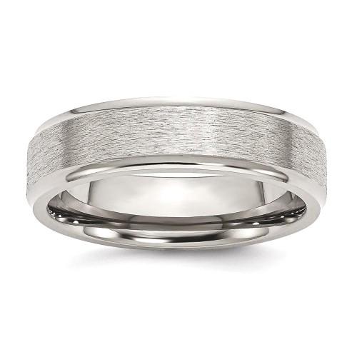IceCarats Titanium Ridged Edge 6mm Wedding Ring Band Size 10.00 Classic Flat Wedge