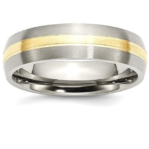 IceCarats Titanium Grooved 14k Yellow Inlay 6mm Brushed Wedding Ring Band Size 13.00 Preciou Metal