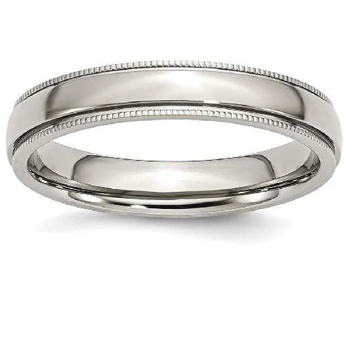 IceCarats Titanium Grooved Beaded Edge 4mm Wedding Ring Band Size 4.00 Classic Milgrain