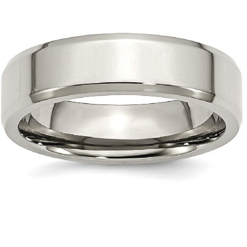 IceCarats Titanium Beveled Edge 6mm Wedding Ring Band Size 12.00 Classic Flat Wedge
