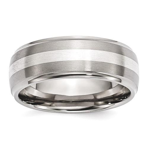 IceCarats Titanium Ridged Edge 925 Sterling Silver Inlay 8mm Brushed/ Wedding Ring Band Size 10.00 Preciou Metal