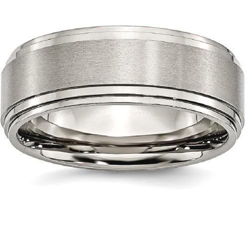 IceCarats Titanium Double Step Ridged Edge 8mm Wedding Ring Band Size 12.00 Classic Flat Wedge