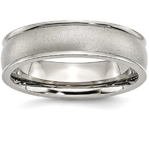 IceCarats Titanium Ridged Edge 6mm Wedding Ring Band Size 7.00 Classic Domed Wedge
