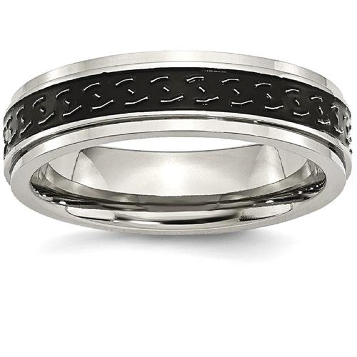 Titanium Ridged Edge Black Enamel Braid Design 6mm Wedding Ring Band Size 11.00 Jewelry & Watches Engagement & Wedding