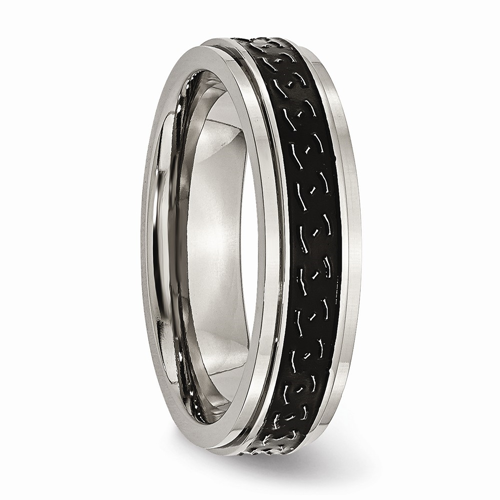 Titanium Ridged Edge Black Enamel Braid Design 6mm Wedding Ring Band Size 11.00 Jewelry & Watches Engagement & Wedding