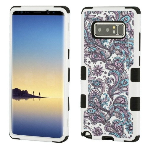 Insten European Flowers Hard Dual Layer Plastic TPU Case For Samsung Galaxy Note 8 - Purple