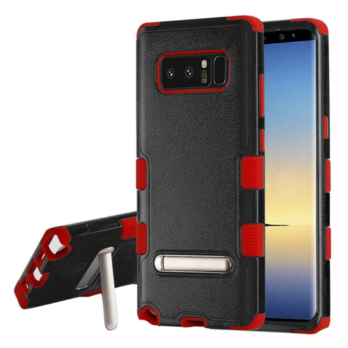 Insten Tuff Hard Dual Layer Plastic TPU Case w/stand For Samsung Galaxy Note 8 - Black/Red
