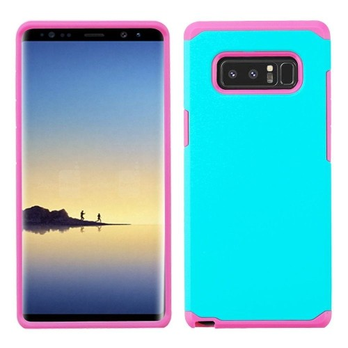 Insten Astronoot Hard Dual Layer Plastic TPU Case For Samsung Galaxy Note 8 - Teal/Hot Pink